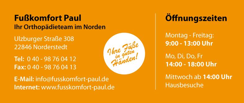 Fußkomfort Paul - Öffnungszeiten